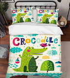 3D Hand Drawn Animal Crocodile Quilt Cover Set Bedding Set Duvet Cover Pillowcases 139 LQH