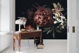 3D Peony Black Background Wall Mural Wallpaper 98
