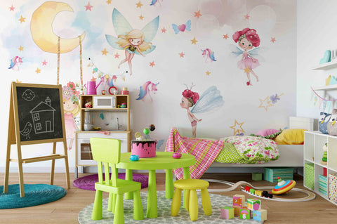 3D angel unicorn moon star swing girl rabbit wall mural wallpaper 9