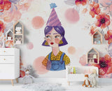 3D Watercolor Flower Girl Wall Mural Wallpaper 17