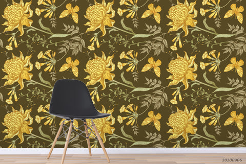Vinatge Yellow Floral Leaves Plant Pattern Wall Mural Wallpaper LXL