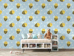3D Cartoon Bee Blue Wall Mural Wallpaper LXL 1467
