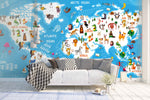3D blue animals world map wall mural wallpaper 27