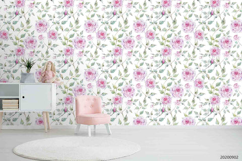 3D Hand Sketching Pink Floral Leaves Plant Wall Mural Wallpaper LXL 1253