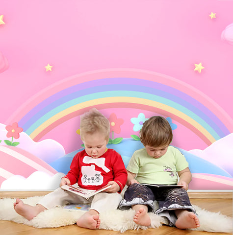 3D Rainbow Pink Background Wall Mural Wallpaper 144
