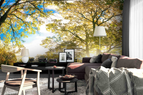 3D Golden Leaf Lawn Wall Mural Wallpaper 16