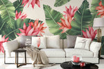 3D Red Flowers Green Leaves Wall Mural Wallpaper 1