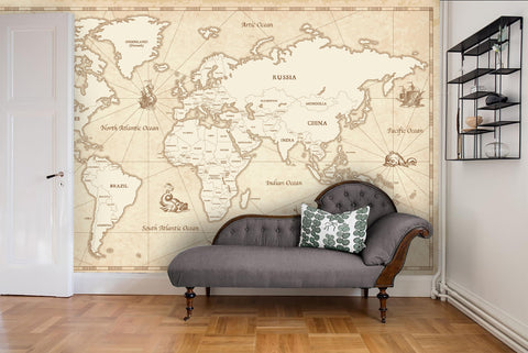 3D World Map Light Wall Mural Wallpaper 18