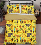 3D Hand Drawn Tribe Animal Yellow Quilt Cover Set Bedding Set Duvet Cover Pillowcases 36