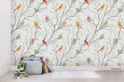 Cartoon Colorful Bird Animal Pattern Tree Branch Wall Mural Wallpaper LXL