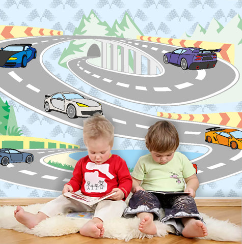 3D Cartoon Racing Car Wall Mural Wallpaper 29