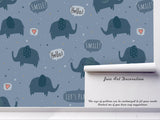 3D Cartoon Blue Elephant Wall Mural Wallpaper A194 LQH