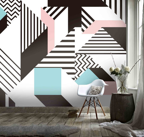 3D Color Triangle Geometry Wall Mural Wallpaper 11