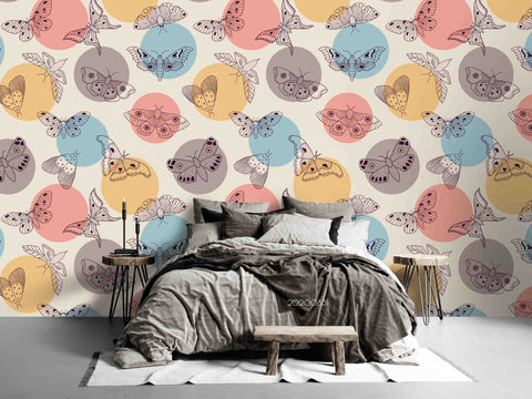 3D Hand Skrtching Colorful Dot Butterfly Wall Mural Wallpaper LXL 1457