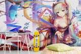 3D Cartoon Girl Fish Chrysanthemum Wall Mural Wallpaper WJ 2012