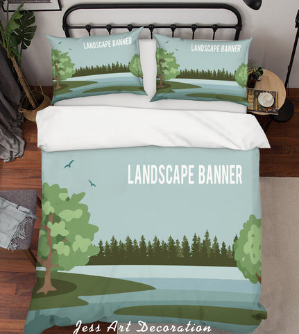 3D Cartoon Forest Green Plant White Quilt Cover Set Bedding Set Pillowcases 11
