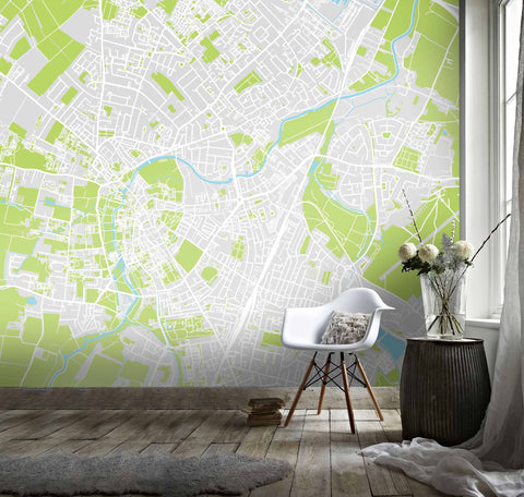 3D Simple Map White Green City Wall Mural Wallpaper 121