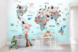 3D Cartoon Animals Map Of The World Sculpture Wall Mural Wallpaper 45