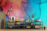 3D Pink Blue Ink Wall Mural Wallpaper 8