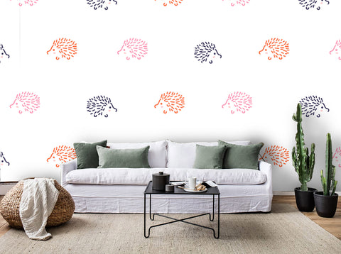 3D Colorful Hedgehog Pattern  Wall Mural Wallpaper 95
