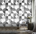 3D Black White Circle Square Pattern Wall Mural Wallpaper 123