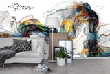 3D Abstract Watercolor Colorful Pattern Birds Wall Mural Wallpaper 31 - Jessartdecoration