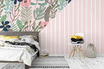 3D Pink Flowers Leaves Wall Mural Wallpaper 10