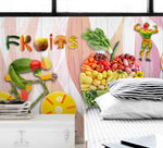3D vegetable fruit bike board wall mural wallpaper 47