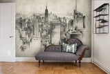 3D Sketch City Wall Ship Mural Wallpaper 10 - Jessartdecoration