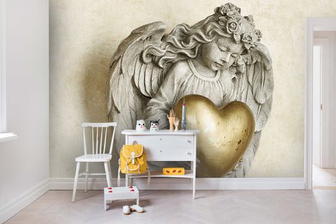 3D Gypsum Embossed Angel Sculpture Wall Mural Wallpaper 43 - Jessartdecoration