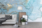 3D Blue Watercolor Gold Stamping Wall Mural Wallpaper 27