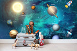 3D Outer Space Galaxy Planet Rocket Wall Mural 23 - Jessartdecoration