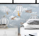 3D aircraft animal hot air balloon wall mural wallpaper 34
