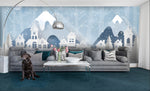 3D Cartoon Snow Mountains House Deer Wall Mural Wallpaper 26 - Jessartdecoration