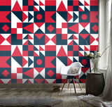 3D Black White Red figure Wall Mural Wallpaper 98