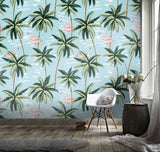 3D Tropical Plant Flamingo Blue Background Wall Mural Wallpaper 111