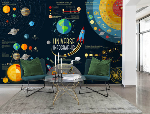 3D Cartoon Universe Stars Wall Mural Wallpaper 14