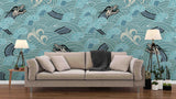3D wave flower dragon wall mural wallpaper 58