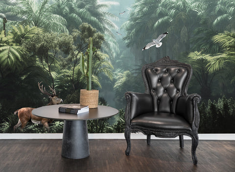 3D Tropical Plants Jungle Deer Bird Wall Mural Wallpaper 44 - Jessartdecoration