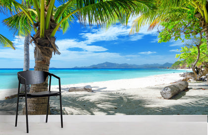 3D Tropical Blue Beach Wall Mural Wallpaper 140