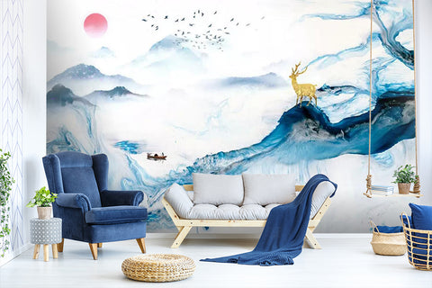 3D color landscape painting background wall mural wallpaper 459