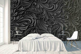 3D Black Abstract Embossed Floral Wall Mural Wallpaper 26