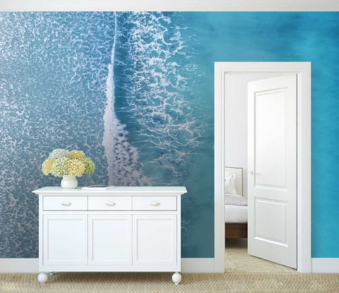 3D blue sea boat wall mural wallpaper 126