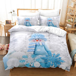 3D Christmas Day Snowman Quilt Cover Set Bedding Set Duvet Cover Pillowcases JN 3005