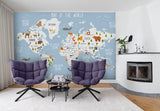 3D blue worldmap cartoon animals wall mural wallpaper