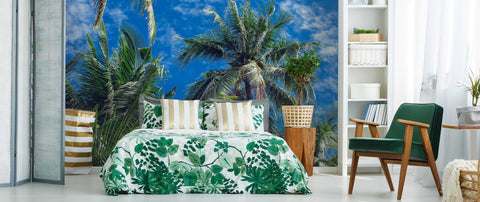 3D Blue Sky Coconut Tree Wall Mural Wallpaper 112