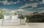 3D blue sky white clouds mountain wall mural wallpaper 5