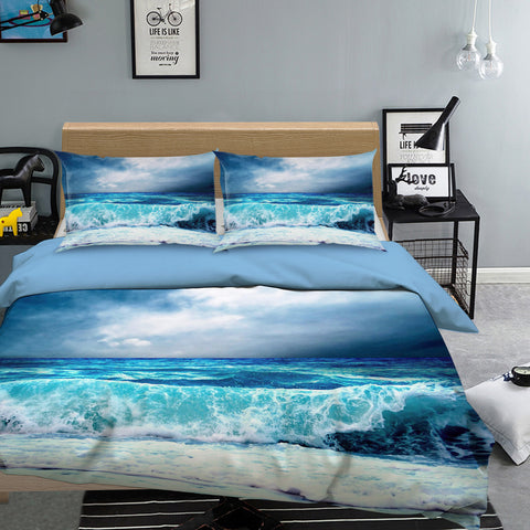 3D Blue Sea Wave Quilt Cover Set Bedding Set Pillowcases 76