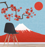 3D cartoon mount fuji wall mural wallpape 31