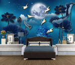 3D Blue Moon Lotus Leaves Crane Wall Mural Wallpaper 2628